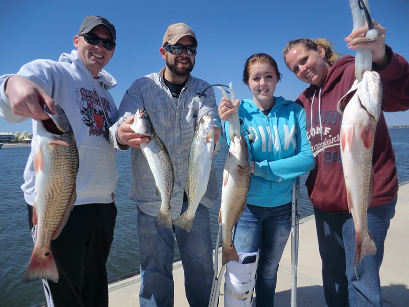 family catching fish in navarre
