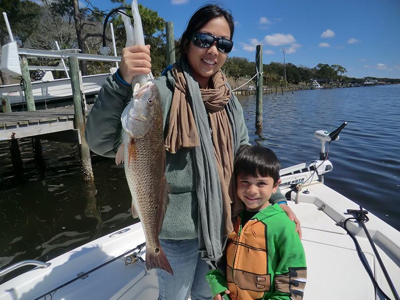 mom and child fishing